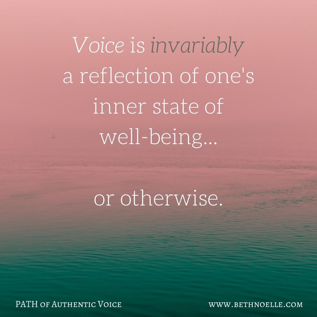 Voice is invariably a reflection of one's inner state of well-being... (1)